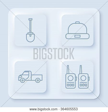 Set Line Shovel, Beanie Hat, Pickup Truck And Walkie Talkie. White Square Button. Vector