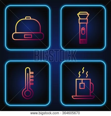 Set Line Cup Of Tea With Tea Bag, Meteorology Thermometer, Beanie Hat And Flashlight. Gradient Color
