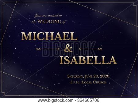 Wedding Invitation Horizontal Card On Magic Night Dark Blue Sky With Sparkling Stars And Nebula. Vec