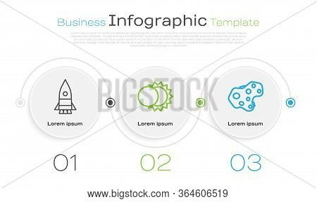 Set Line Rocket Ship, Eclipse Of The Sun And Asteroid. Business Infographic Template. Vector