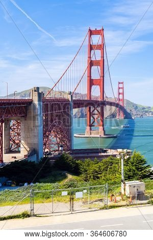 Golden Gate bridge with beautiful blue sky landscape in San Francisco in North California USA West Coast of Pacific Ocean, United States Landmark Travel Destination and cityscape concept.