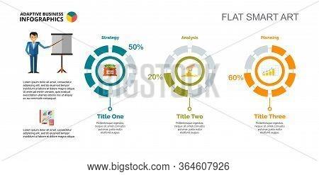 Three Doughnut Charts. Business Data. Comparison, Financial, Diagram. Creative Concept For Infograph