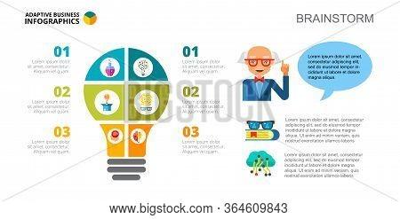 Three Options Brainstorm Process Chart Slide Template. Business Data. Knowledge, Idea, Design. Creat