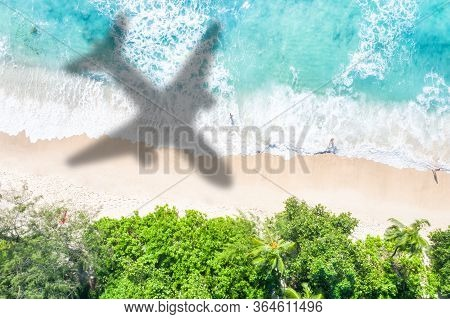 Symbolic Picture Vacation Travel Traveling Sea Airplane Flying Seychelles Beach