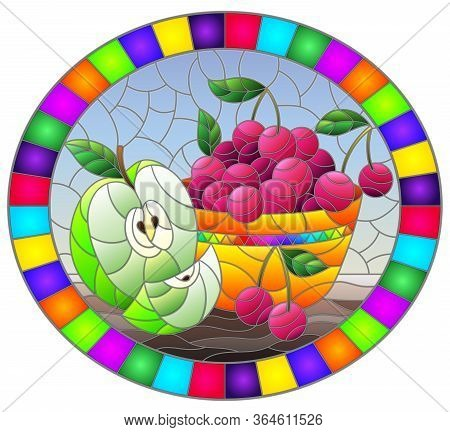 Illustration In Stained Glass Style With Still Life , Apple And A Cherry Berryes  In A Bowl On A Tab