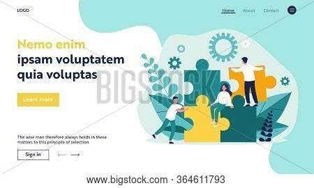 Business Team Constructing Jigsaw Solution. People Connecting Big Pieces Of Puzzle. Vector Illustrat