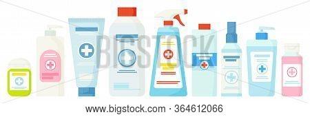 Set Of Hand Sanitizer Such As Lotion, Dispencer, Cream, Spray, Gel.hygiene, Health, Clean Hands, Med