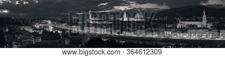 Florence skyline viewed from Piazzale Michelangelo at night panorama black and white