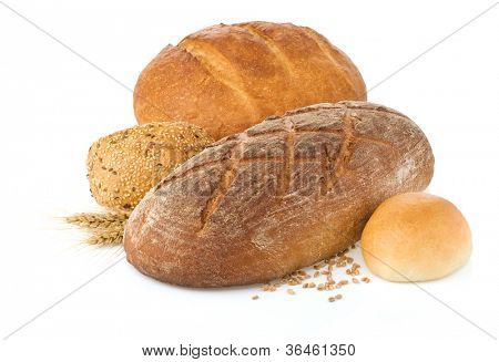 fresh bread isolated on white background