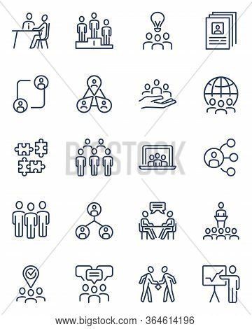People Working Together In Team Thin Outline Icon Set. Partnership, Alliance, Finding Employee, Meet