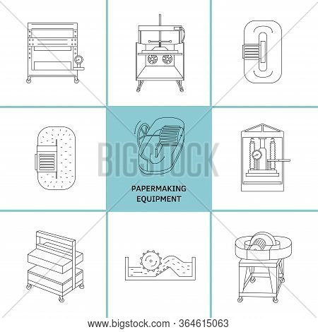 Vector Illustration. Thin Line Icon Set Of Equipment For Hand Papermaking. Related For Logo, Instruc