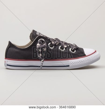 Vienna, Austria - February 19, 2018: Converse Chuck Taylor All Star Big Eyelets Ox Black And White S