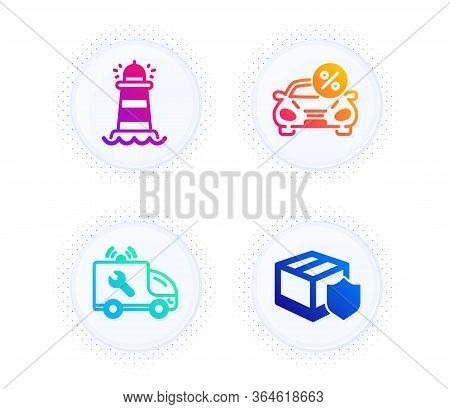 Car Service, Lighthouse And Car Leasing Icons Simple Set. Button With Halftone Dots. Delivery Insura