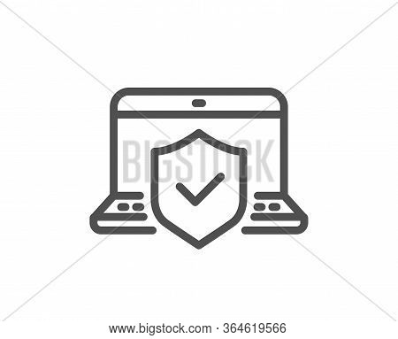 Laptop Insurance Hand Line Icon. Risk Coverage Sign. Notebook Protection Symbol. Quality Design Elem
