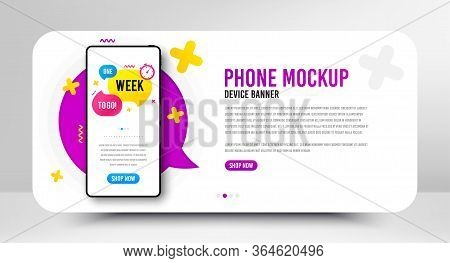 One Week Offer Bubble. Phone Screen Mockup Banner. Discount Banner Shape. Special Offer Icon. Social