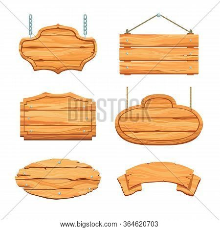 Rustic Wooden Boards Set. Hanging Blank Saloon Signboards And Banners With Ropes And Chains. Vector