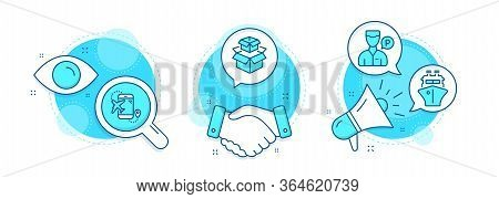 Flight Destination, Ship And Packing Boxes Line Icons Set. Handshake Deal, Research And Promotion Co