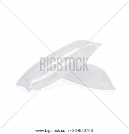 Inflatable Air Buffer Plastic Bags Isolated On White Background. Cushion Blocking Bag That Creates P