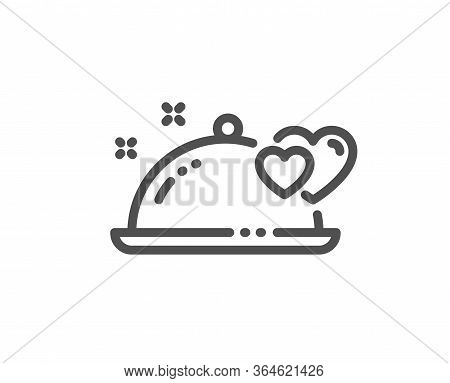 Romantic Dinner Line Icon. Valentines Day Restaurant Food Sign. Couple Relationships Symbol. Quality