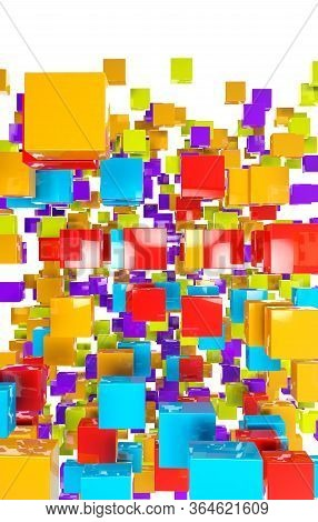 Futuristic 3d Illustration Of Colorful Squares, Rectangles And Geometric Shapes On A White Backgroun