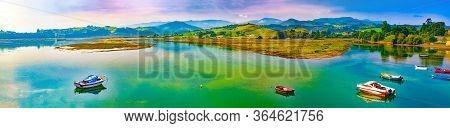 San Vicente De La Barquera Village In Cantabria,spain.scenic Mountain And Sea Panoramic Landscape In