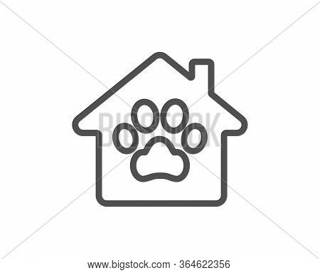 Pet Shelter Line Icon. Veterinary Clinic Sign. Pets Care Symbol. Quality Design Element. Editable St