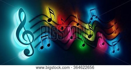 Song And Melody Concept.3d Illustration For Music Festivals And Jazz And Pop Concerts. Leisure And N