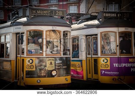 Lisbon, Portugal, October 20 2018 : Traditional Local Transportation Tram At Alfama Area At Lisbon C