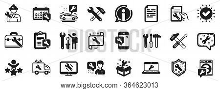 Set Of Hammer, Screwdriver And Spanner Tool Icons. Repair Car Service Icons. Recovery, Washing Machi