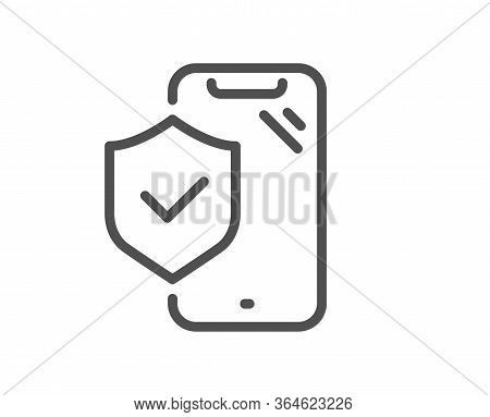 Phone Insurance Hand Line Icon. Risk Coverage Sign. Device Protection Symbol. Quality Design Element
