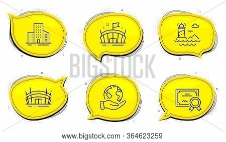 Arena Stadium Sign. Diploma Certificate, Save Planet Chat Bubbles. Arena, Lighthouse And Buildings L