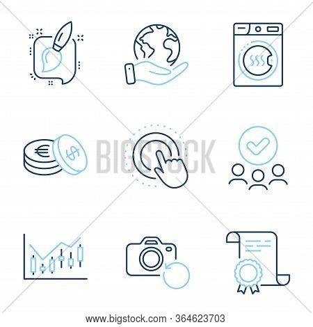 Painting Brush, Click Hand And Financial Diagram Line Icons Set. Diploma Certificate, Save Planet, G