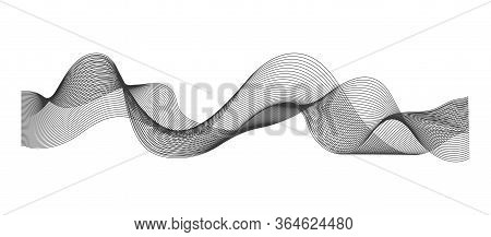 Abstract Line Sound Wave. Graphic Wireframe Pulse Frequency Of Equalizer. Gray Wavy Rhythm Of Mixer