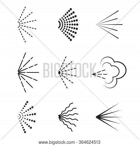 Vector Spray Icon. Set Of Deodorant Or Aerosol Spray On Isolated Background. Aromatic Stream From Bo