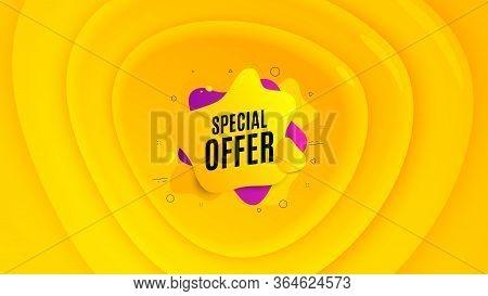 Special Offer Liquid Shape. Geometric Plastic Design Banner. Discount Banner. Sale Coupon Icon. Oran