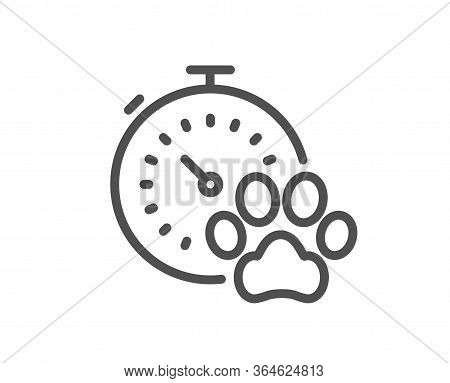 Dog Competition Line Icon. Pets Timer Sign. Activities Results Symbol. Quality Design Element. Edita