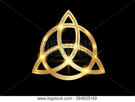 Triquetra Geometric Logo, Gold Trinity Knot, Wiccan Symbol For Protection. Vector Golden Celtic Trin
