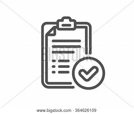 Approved Report Line Icon. Accepted Document Sign. Verification Symbol. Quality Design Element. Edit