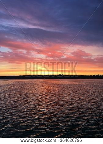Colorful Moody Impressional Sunset At Lake In Poland, Zalew Sulejowski In Smardzewice