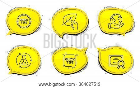 Organic Tested Sign. Diploma Certificate, Save Planet Chat Bubbles. Chemistry Experiment, Tips And Q