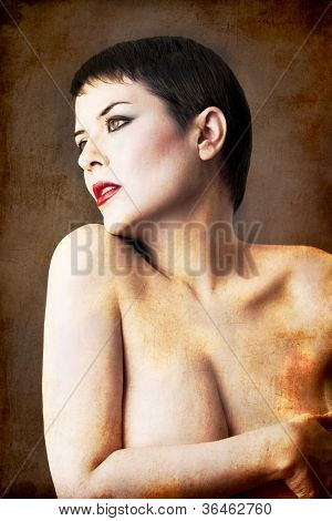 seminude beautiful short haired brunette woman, androgine, female power