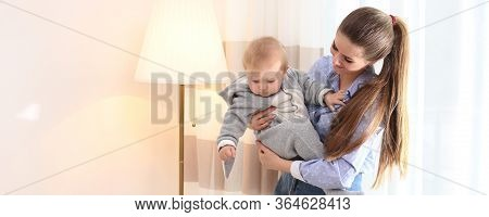Teen Nanny With Cute Little Baby At Home, Space For Text. Banner Design
