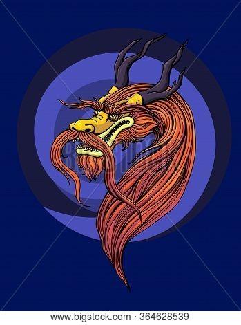 Chinese Dragon, Mythical Monster, Yormungand. Vector Illustration