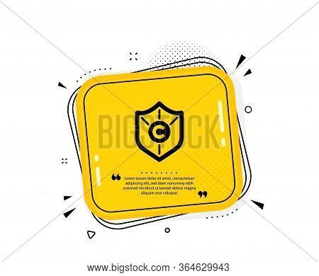 Copyright Protection Icon. Quote Speech Bubble. Copywriting Sign. Shield Symbol. Quotation Marks. Cl