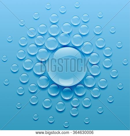Water Droplets On Blue Background Vector Design Illustration