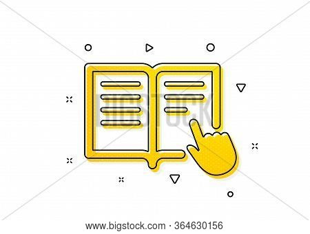 Education With Hand Pointer Symbol. Instruction Book Icon. E-learning Sign. Yellow Circles Pattern.