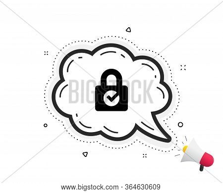 Lock With Check Icon. Quote Speech Bubble. Private Locker Sign. Password Encryption Symbol. Quotatio