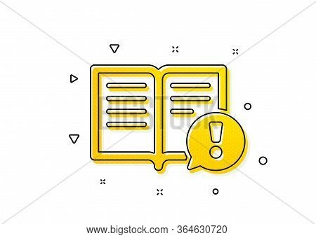 Exclamation Mark Sign. Interesting Facts Icon. Book Symbol. Yellow Circles Pattern. Classic Facts Ic