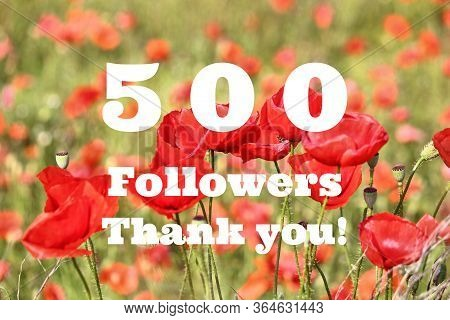 500 Followers. Social Media Follower Milestone. Thank You Sign.