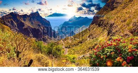Masca Valley.canary Island.tenerife.spain.scenic Mountain Landscape.cactus,vegetation And Sunset Pan